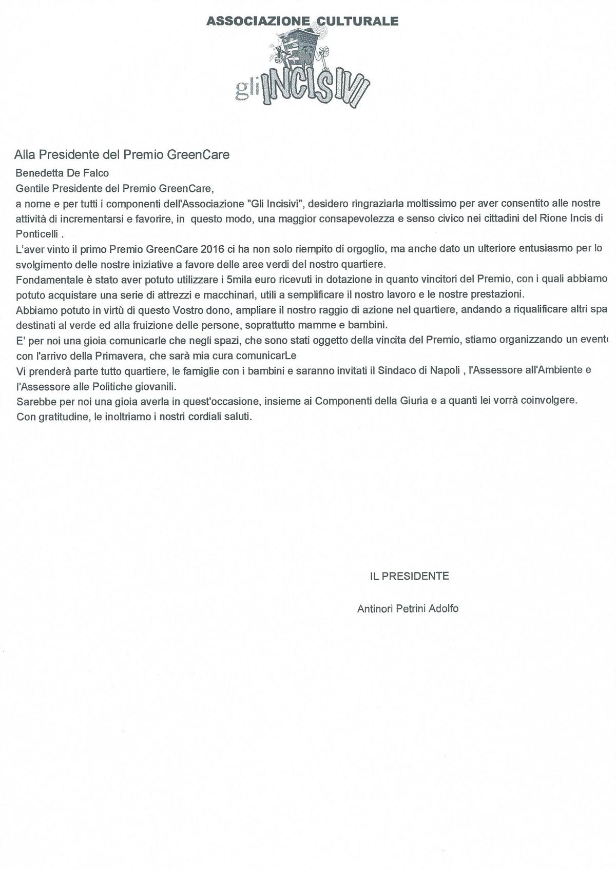 Incisivi lettera premiato GreenCare
