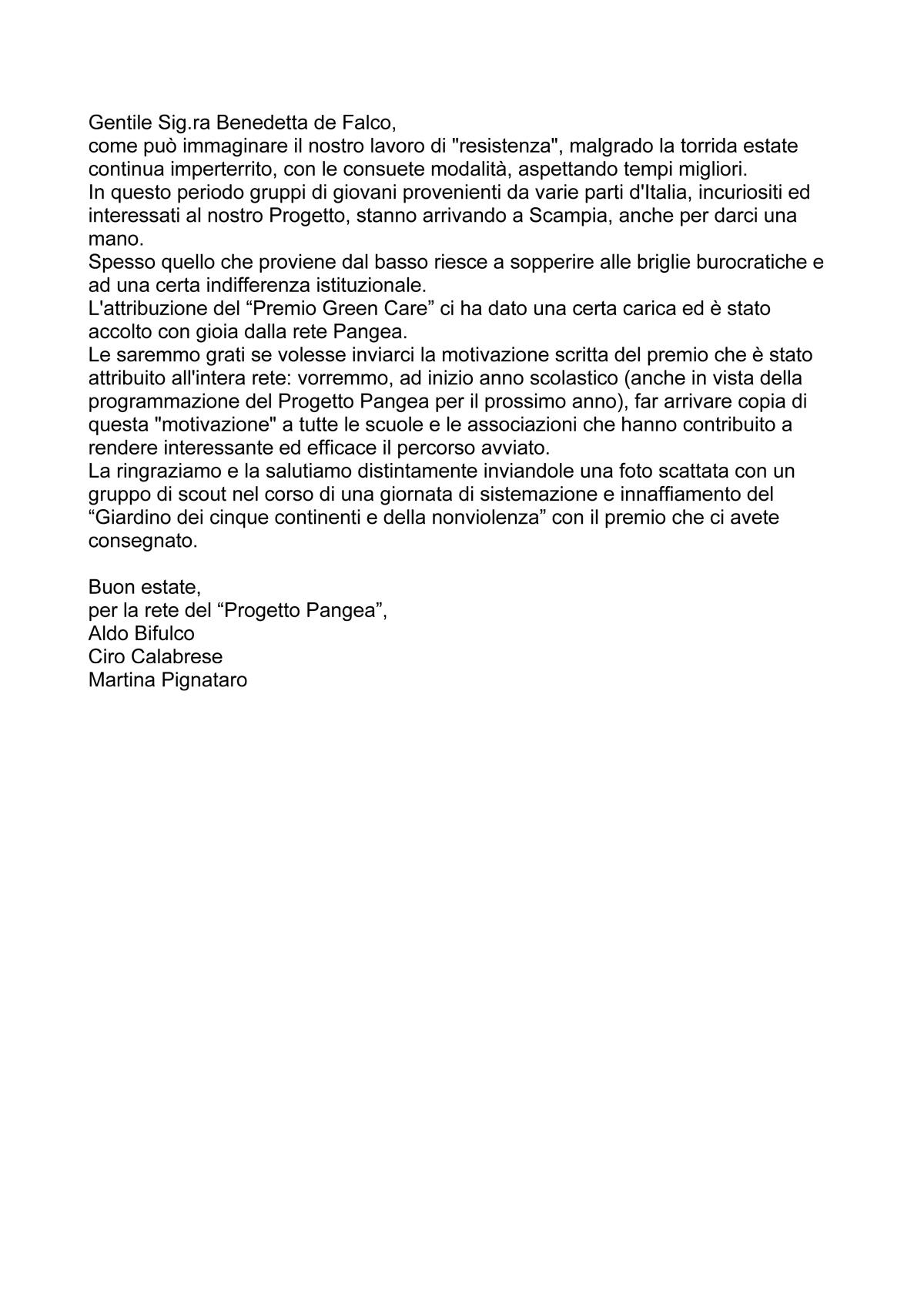 Progetto Pangea lettera premiato GreenCare