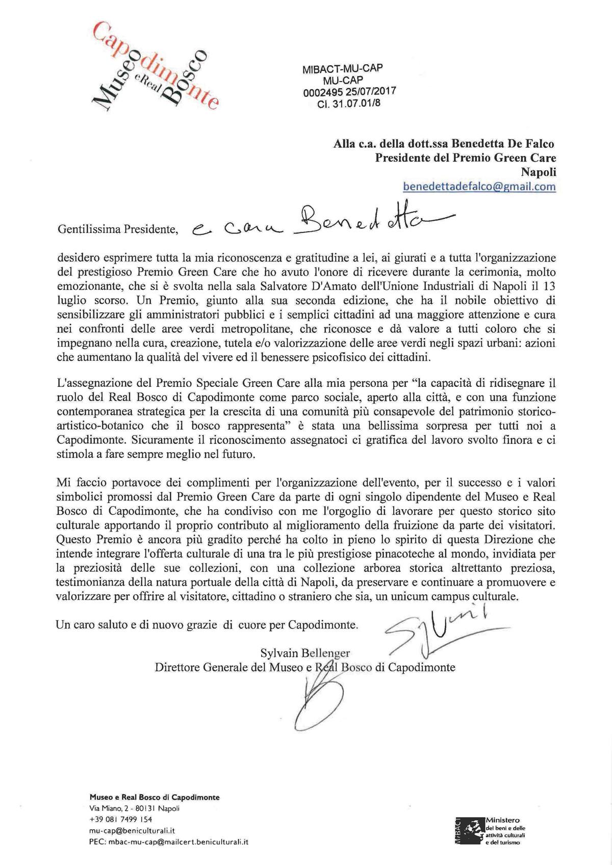 Sylvain Bellenger lettera premiato GreenCare