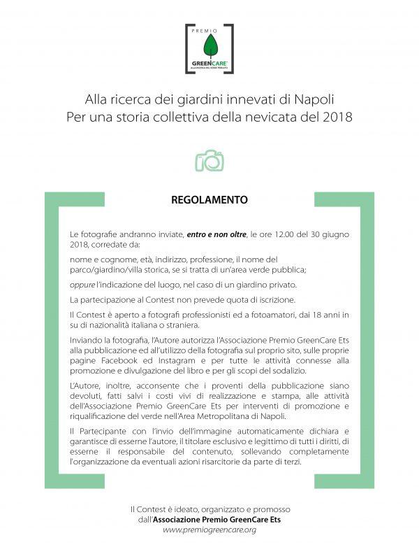Regolamento del Contest fotografico: Alla ricerca dei giardini innevati di Napoli. La nevicata del 2018.