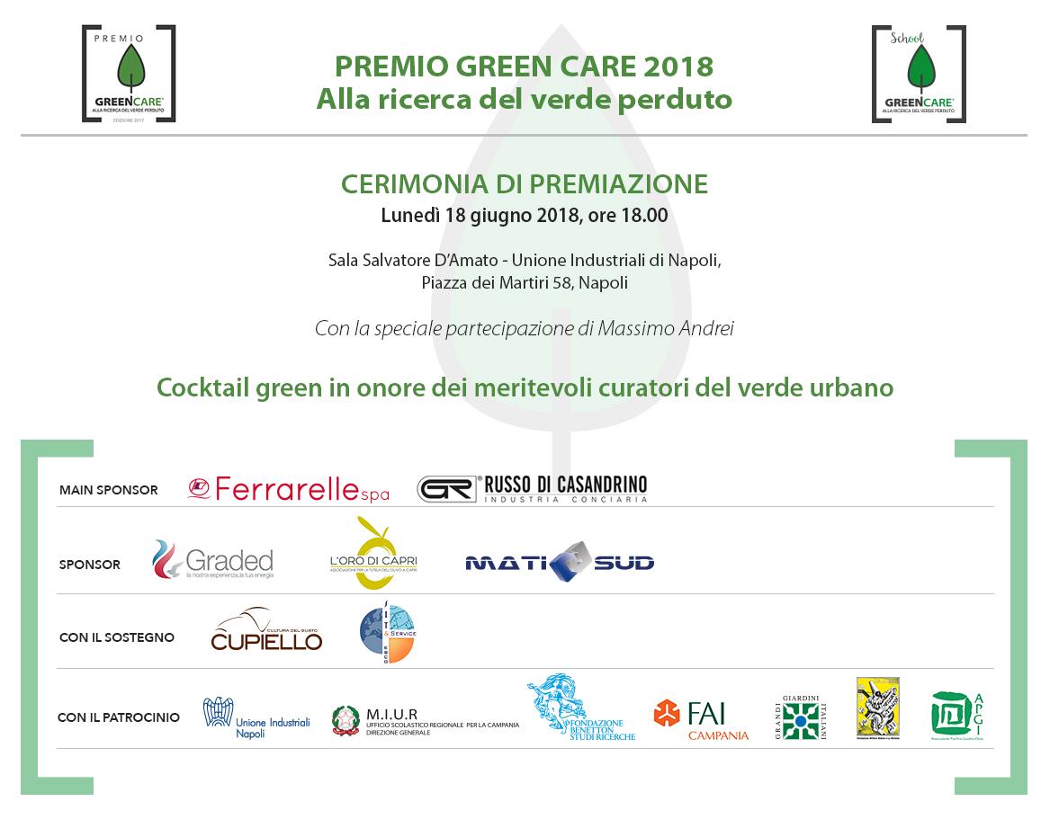 L'invito per la Cerimonia di Premiazione del Premio GreenCare 2018