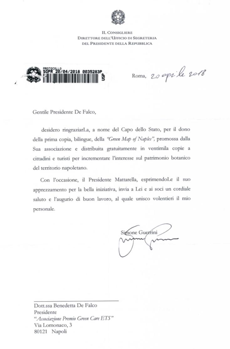La lettera della Presidenza della Repubblica con i complimenti per la Green Map of Naples