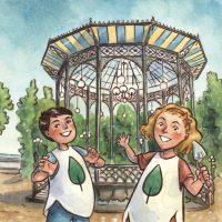 Un'immagine tratta dalla copertina del libro La Villa Comunale salvata dai bambini