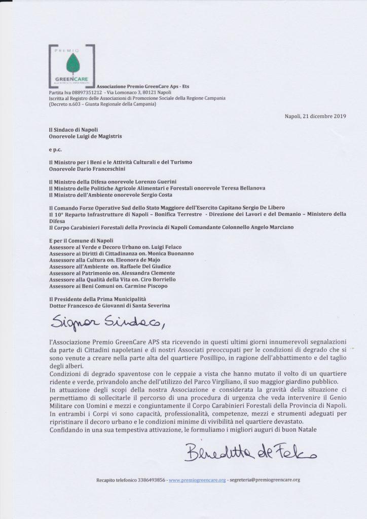 La lettera al Sindaco di Napoli per richiedere l'intervento del Genio Militare per Posillipo