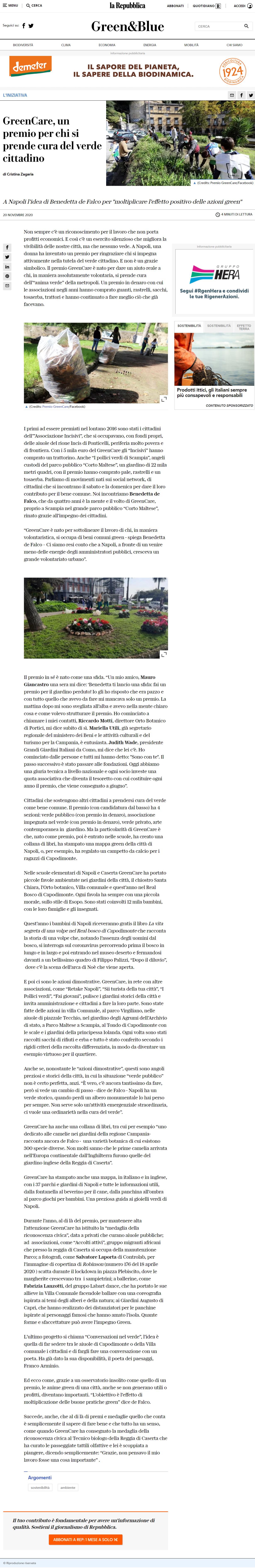 GreenCare, un premio per chi si prende cura del verde cittadino, la Repubblica online del 20 novembre 2020